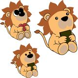 Lovely cute little baby lion cartoon set Stock Images