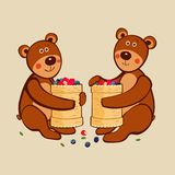 Lovely cute little bears sit in embrace with Russian national dishes made of birch bark full of wild berries. Vector drawing vector illustration