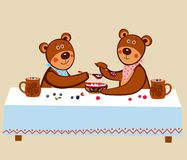 Lovely cute little teddies are sitting at a long table and eating wooden berries with wooden spoons with milk. Vector drawing Royalty Free Stock Photos