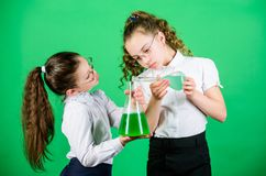 Lovely day in the laboratory. biology education. school kid scientist study science. children at chemistry lab. back to. School. little smart girls with testing royalty free stock images