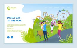 Lovely Day at Park, Family with Child Amusement royalty free illustration