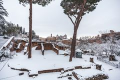 A lovely day of snow in Rome, Italy, 26th February 2018: a beautiful view of Colosseum under the snow.  stock image