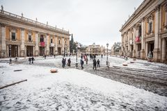 A lovely day of snow in Rome, Italy, 26th February 2018: a beautiful view of Capitoline Square under the snow.  stock photography
