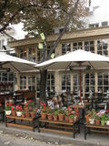 Lovely decorated cozy cafe at the street of Odessa Stock Image