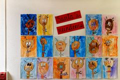 Childrens art - drawings of Santa`s Reindeer royalty free stock photos