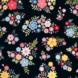 Lovely ditsy floral pattern with cute abstract flowers in vector. Seamless background with colorful bouquets. Vector illustration. Fashion print for fabric royalty free illustration