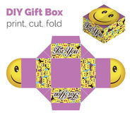 Lovely Do It Yourself DIY smiling expression gift box for sweets Royalty Free Stock Images