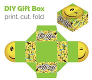 Lovely Do It Yourself DIY wink smiley expression gift box for sweets, candies, small presents. Printable color scheme. Print it on thick paper, cut out, fold Royalty Free Stock Images