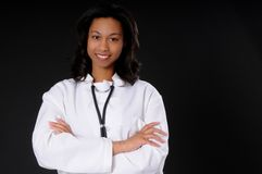 Lovely Doctor. Lovely young and beautiful black Doctor or Nurse Stock Photos