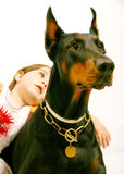 Lovely dog. Dog and children, pet terapy Royalty Free Stock Image