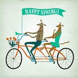 Lovely dogs cyclists spring  illustration. Cute drawn cartoon dogs on tandem bicycle with basket and flowers. Bicycle postcard about spring season Royalty Free Stock Image