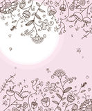 Lovely doodle flowers. Greeting card template with lovely doodle flowers Royalty Free Stock Images