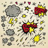 Lovely doodle style comic sound effects set Stock Photography