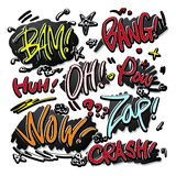 Lovely doodle style comic sound effects set Stock Image
