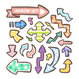 Lovely doodle style hand drawn arrows set Stock Images