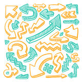 Lovely doodle style hand drawn arrows set Stock Photos
