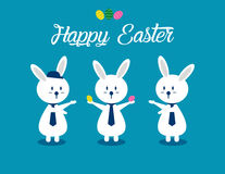 Lovely easter bunnies set. Concept easter illustration. Vector  Royalty Free Stock Image