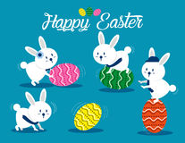 Lovely easter bunnies set. Concept easter illustration. Vector  Royalty Free Stock Photo