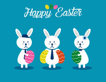 Lovely easter bunnies set. Concept easter illustration. Vector  Stock Photo