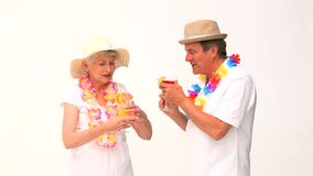 Lovely elderly couple in vacation stock video footage