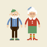 Lovely elderly couple. Vector old lady and old man in modern flat design stock illustration