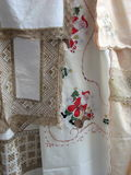 Lovely embroideries. Embroideries in the village of Lefkara, Cyprus royalty free stock photos