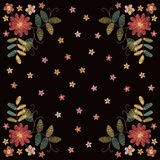 Lovely embroidery with flowers and leaves. Fashion design for card, bandana print. Kerchief design, napkin. Vector illustration royalty free illustration