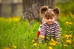 Lovely emotional girl sitting in grass. Lovely emotional  five-year  sitting in grass Stock Images