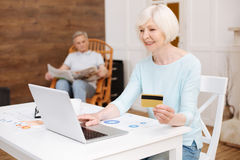 Lovely enthusiastic lady shopping online Royalty Free Stock Photos