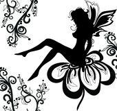 Lovely fairy. Graphic illustration of a fairy on a flower Royalty Free Stock Photography
