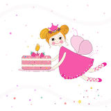 Lovely fairy with birthday cake vector background Stock Photo