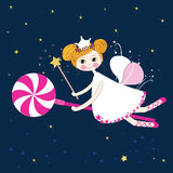 Lovely fairy with candy night vector Royalty Free Stock Images