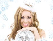Lovely fairy in crown with disco ball Stock Image