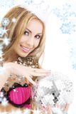 Lovely fairy in crown with disco ball Royalty Free Stock Photography