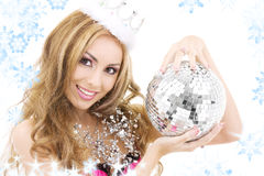 Lovely fairy in crown with disco ball Stock Photos