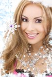 Lovely fairy in crown with magic wand Royalty Free Stock Images
