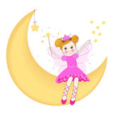 Lovely fairy sitting on the moon vector Royalty Free Stock Photo