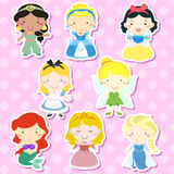 Lovely fairy tale characters set. Over pink background Royalty Free Stock Image
