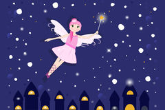 Lovely fairy tale in the night background. Vector Royalty Free Stock Image