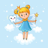 Lovely fairy with a tooth and a magic wand. Tooth Fairy. Lovely fairy with a tooth and a magic wand. Vector magic illustration. A girl with wings in the clouds royalty free illustration