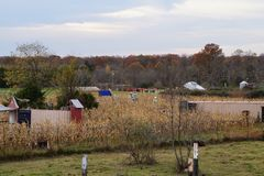 Lovely Fall Day On the Farm. This scene shows a small piece of a working farm after crops have been harvested.  The fields and dried cornstalks and trees and out Royalty Free Stock Photos