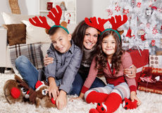 Lovely family at Christmas royalty free stock images