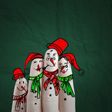 Lovely family hand drawn and finger of snowmen Royalty Free Stock Photos