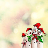 A lovely family hand drawn and finger of snowmen Stock Photography