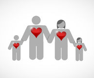 Lovely family. huge hearts. illustration design Royalty Free Stock Photo