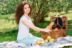 Lovely family picnic in the park Stock Photos