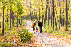 Lovely family walking in the autumn forest. Healthy lifestyle Stock Images