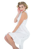 Lovely fashion blonde model posing looking at camera Royalty Free Stock Photos