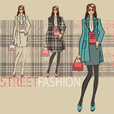 Lovely fashionable girl .Options ensemble.Fashion Illustration Royalty Free Stock Photo