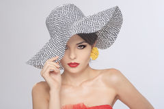 Lovely Fashionable Woman Wearing a Hat Royalty Free Stock Photos